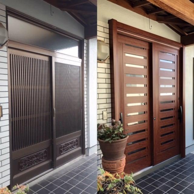 広島で玄関ドアと引き戸をリフォームする